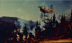 DC-6 drops retardant over a forest fire by Douglas Beck