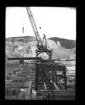 Crane position steel girder on railway bridge at Grand Coulee Dam