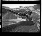Bulldozer moves gravel at the Brett gravel pit