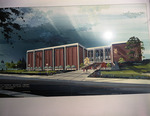 John F. Kennedy Memorial Library.  Arch. Rendering