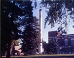 "Showalter Hall, ""T"" and smokestack for heating plant"