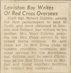 Lewiston Boy Writes of Red Cross Overseas by Robert Gillette