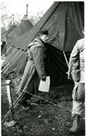Major Barney Oldfield walking near a tent by Robert Gillette