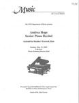 Andrea Hope Senior Piano Recital by Andrea Hope and Heather Wisswell